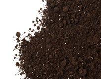 Boden oder Schmutz lokalisiert auf weißem Hintergrund Stockfoto