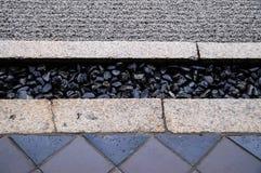 Boden-Wasser-Entwässerungsdetail Stockfoto