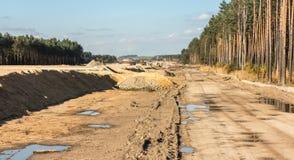 Bodenbewegungen für den Bau der Autobahn Stockfotos
