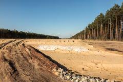 Bodenbewegungen für den Bau der Autobahn Stockbild