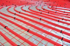 Bodenheizungsrohre Des Wassers Stockbild Bild Von Fussboden