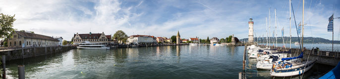 Bodensee Lindau, Panorama Port Hafen. The Port of Lindau Bodensee in Germany Royalty Free Stock Images