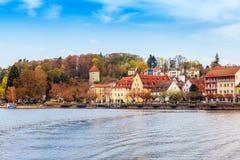 Bodensee promenad i Ueberlingen Arkivfoto