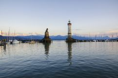 Bodensee sjö på Lindau, Bayern Royaltyfri Fotografi