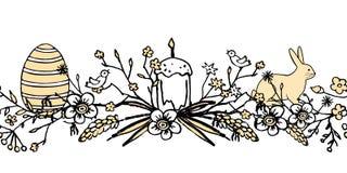 Boder para Pascua con la guirnalda floral con el huevo, el pájaro, la torta de pascua, las liebres y los brunches Fondo dibujado  Fotografía de archivo libre de regalías