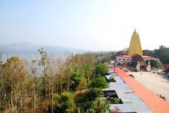Bodh Gaya. Landscape of Thai golden Bodh Gaya in top view, Sangkhlaburi, Thailand Royalty Free Stock Photo
