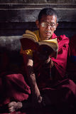 BODH GAYA, INDIA - JANUARY 21, 2015: Tibetan monk are celebratin Royalty Free Stock Image