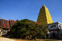 Bodh Gaya and tree. In district Sangkhlaburi, Kanchanaburi country of Thailand Royalty Free Stock Photography