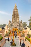 Bodhgaya, Bihar, India - 12 21 2017; Mahabodhitempel royalty-vrije stock afbeeldingen