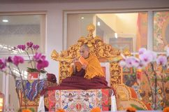 Holiness Dalai lama in Bodhgaya, India. Bodhgaya, India, 05 Jan 2018- Holiness Dalai Lama addressed during teaching the gathering at kalachakra ground in Stock Photography