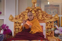 Holiness Dalai lama in Bodhgaya, India. Bodhgaya, India, 05 Jan 2018- Holiness Dalai Lama addressed during teaching the gathering at kalachakra ground in Royalty Free Stock Photo