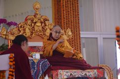 Holiness Dalai lama in Bodhgaya, India. Bodhgaya, India, 05 Jan 2018- Holiness Dalai Lama addressed during teaching the gathering at kalachakra ground in Stock Image