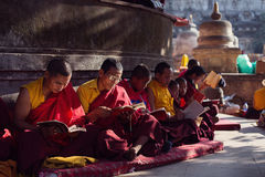 BODHGAYA, INDIA - JANUARY 21, 2015: Tibetan monks are celebratin Stock Photo