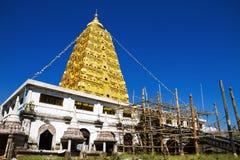 Bodhgaya stupa gold and sky Stock Photo