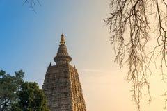 Bodhgaya at sunset, Budhagaya stupa is Public Buddhism landmark in India,. The place Buddha attained enlightenment, Mahabodhi temple, Gaya, India Royalty Free Stock Photography