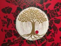 Bodhi树油画 库存照片
