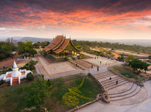 Bodhi树焕发Wat Sirindhornwararam 库存图片