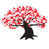 Bodhi Tree of Love. Trees of Love leaves made from the heart. For Valentine`s Day royalty free illustration