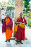 BODHIGAYA, INDIA - MAY 13, 2014: Unknow monks  stand for charity Royalty Free Stock Images