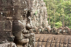 Bodhisattva face. In Bayon temple at Angkor Thom Stock Images