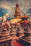 Bodhnath stupa在加德满都谷,尼泊尔 库存图片