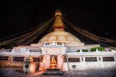 Bodhnath Stupa At Night Stock Photography