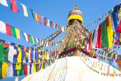 Bodhnath Stupa with Buddha Eyes in Kathmandu. Asian. Stock Photo