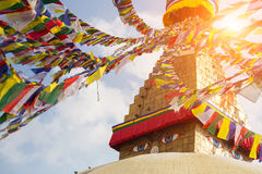 Bodhnath Stupa with Buddha Eyes during sunrise in Kathmandu. Nepal. Stock Images