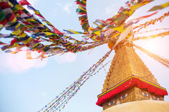 Bodhnath Stupa with Buddha Eyes during sunrise in Kathmandu..Nepal. Royalty Free Stock Photos