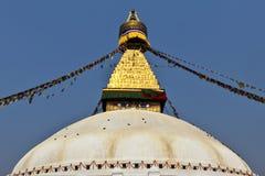 Bodhnath Stupa con los indicadores del rezo en Katmandu - Ne Foto de archivo libre de regalías