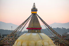 Bodhnath Stupa in the evening, Kathmandu. Nepal. Stock Photography