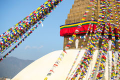 Bodhnath Stupa in Kathmandu with Buddha Eyes. Royalty Free Stock Images