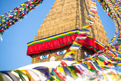 Bodhnath Stupa in Kathmandu with Buddha Eyes. Royalty Free Stock Image