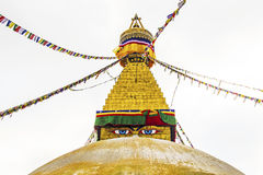 Bodhnath stupa in kathmandu with buddha eyes and prayer flags Stock Photography