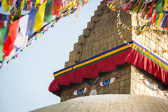 Bodhnath Stupa in Kathmandu with Buddha Eyes and prayer flags. Nepal Stock Images