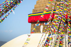 Bodhnath Stupa in Kathmandu with Buddha Eyes and prayer flags. Nepal Royalty Free Stock Photography