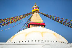 Bodhnath Stupa in Kathmandu with Buddha Eyes. Religion. Royalty Free Stock Photos