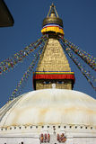 The Bodhnath Stupa in Kathmandu. Nepal. the eyes of Shiva royalty free stock photography