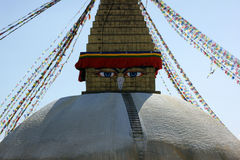 The Bodhnath Stupa in Kathmandu. Nepal. the eyes of Shiva stock image