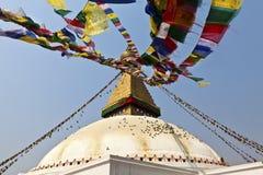 Bodhnath Stupa med bönflaggor i Kathmandu - Ne Arkivbild
