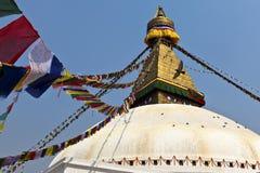 Bodhnath Stupa med bönflaggor i Kathmandu - Ne Arkivfoton