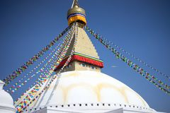 Bodhnath Stupa in Nepal. Bodhnath is the largest stupa in Nepal and the de facto religious centre of Nepal`s large Tibetan community. The association is because royalty free stock photography