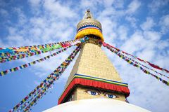 Bodhnath Stupa in Nepal. Bodhnath is the largest stupa in Nepal and the de facto religious centre of Nepal`s large Tibetan community. The association is because royalty free stock images