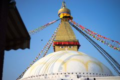 Bodhnath Stupa in Nepal. Bodhnath is the largest stupa in Nepal and the de facto religious centre of Nepal`s large Tibetan community. The association is because Royalty Free Stock Image