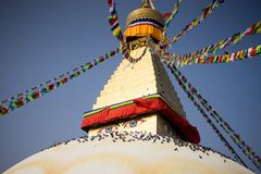 Bodhnath Stupa in Nepal. Bodhnath is the largest stupa in Nepal and the de facto religious centre of Nepal`s large Tibetan community. The association is because Stock Image
