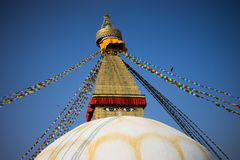 Bodhnath Stupa in Nepal. Bodhnath is the largest stupa in Nepal and the de facto religious centre of Nepal`s large Tibetan community. The association is because Royalty Free Stock Photos