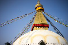 Bodhnath Stupa in Nepal. Bodhnath is the largest stupa in Nepal and the de facto religious centre of Nepal`s large Tibetan community. The association is because Stock Photography