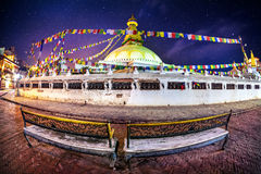 Bodhnath stupa at night Royalty Free Stock Image