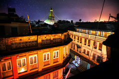 Bodhnath stupa at night Stock Photo
