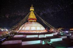 Bodhnath stupa at night. Sky with stars in Kathmandu valley, Nepal Stock Photo